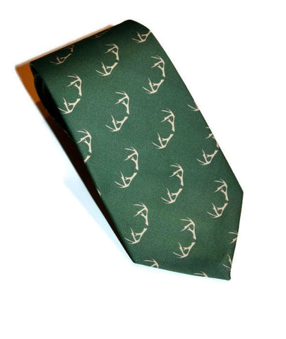 Green Handmade Necktie Featuring An Antler Design