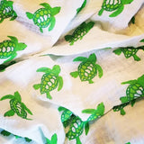 Organic Cotton Green Turtle Barry Beaux Swaddle Blanket
