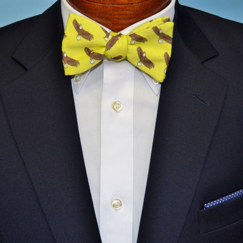 Yellow Bald Eagle Bow Tie