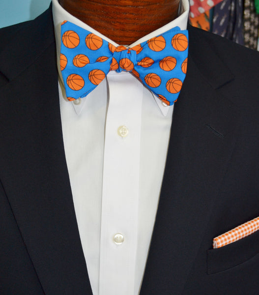 Blue Basketball Bow Tie