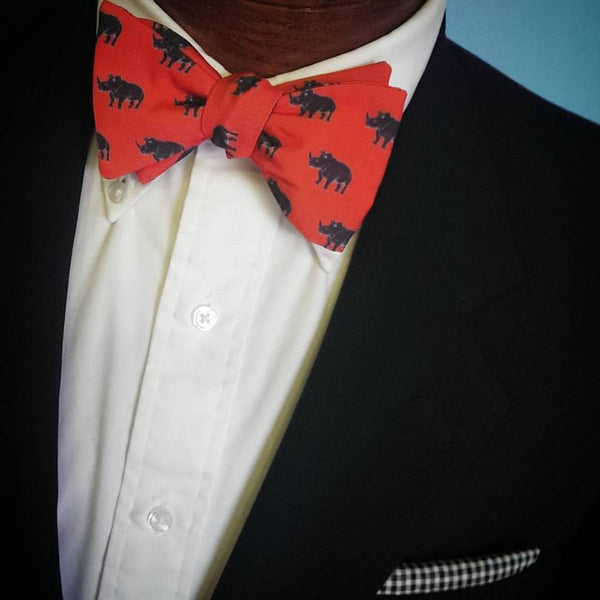 Red Black Rhino Bow Tie