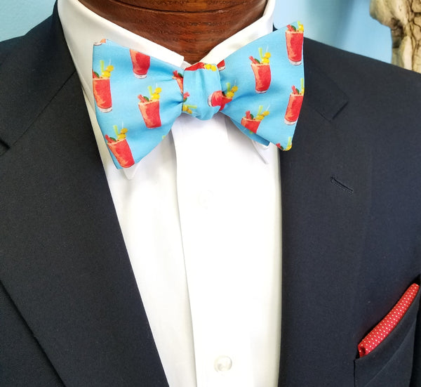 Bloody Mary Blue Bow Tie Red Pocket Square