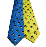 Blue And Yellow Neckties With Sailfish Pattern