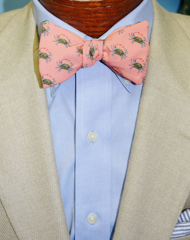 Blue Crabs Coral Bow Tie