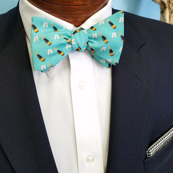 Champagne Bottle Flutes Bow Tie