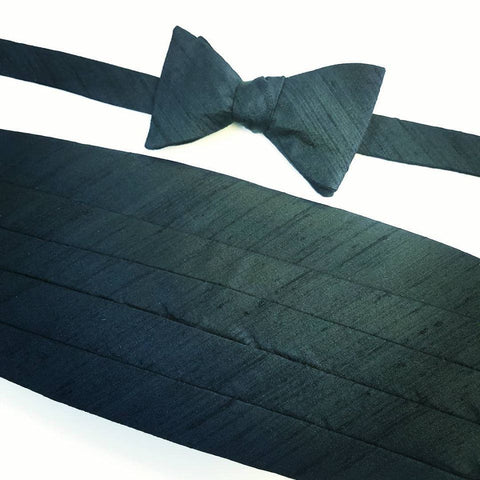 Black Silk Dupioni Formal Cummerbund Set