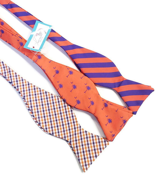 Clemson Purple Orange Bow Ties