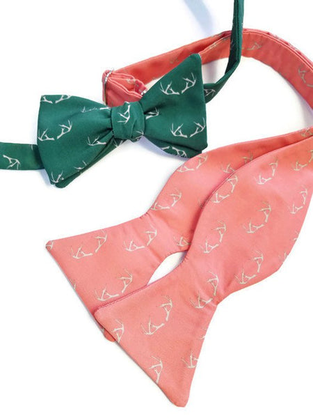 antler bow ties green and coral