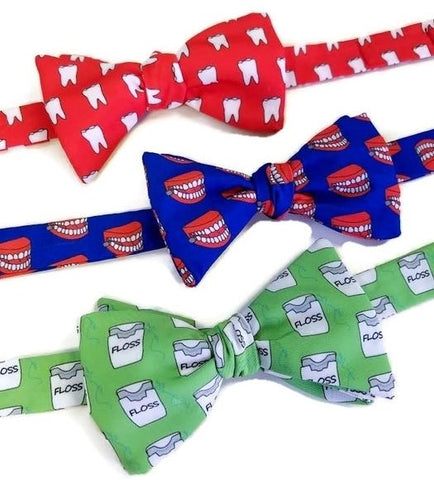 tooth bow tie, chattering teeth bow tie, dental floss bow tie