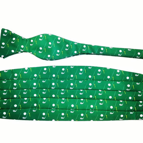 Green Golf Themed Bow Tie And Cummerbund Set By Barry Beaux