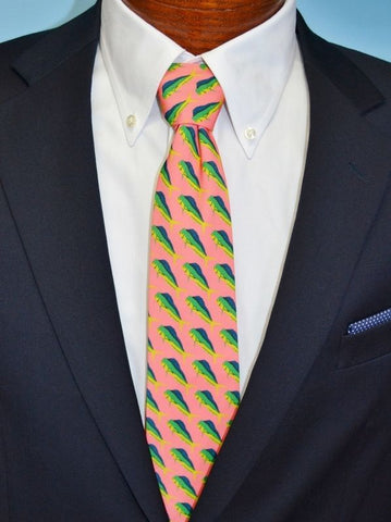 Handmade Barry Beaux Necktie Featuring A Mahi Mahi Fish Design