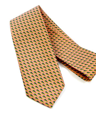 Mahi Mahi Fish Design On Handmade Necktie
