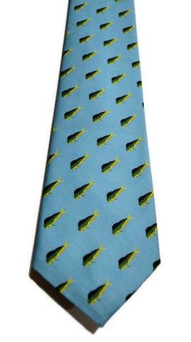 Blue Mahi Mahi Fish Print On Barry Beaux Necktie