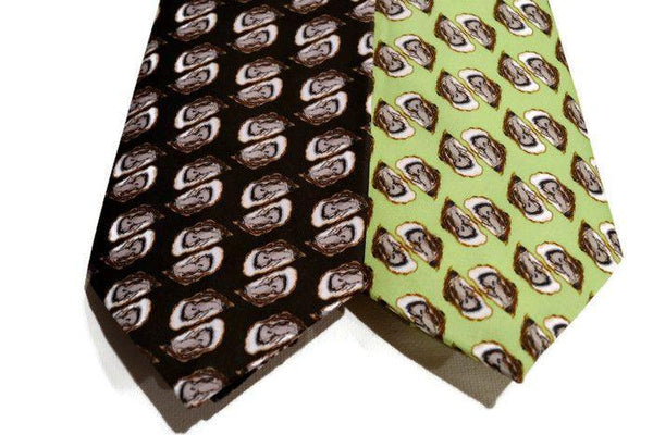 Black And Green Neckties Featuring An Oyster Shell Pattern