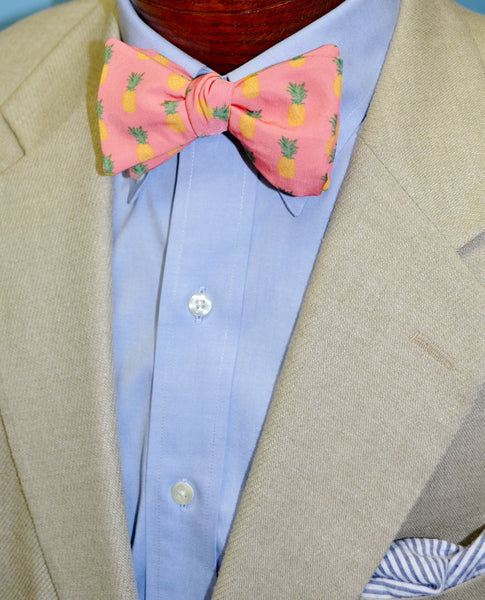 Pineapple Bow Tie Seersucker Pocket Square