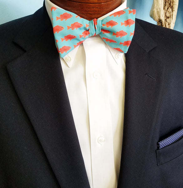 Red Fish Bow Tie Pocket Square