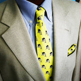 Yellow Sailfish Necktie Pocket Square