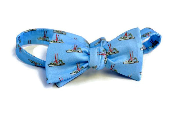 Shrimp Boat Blue Bow Tie