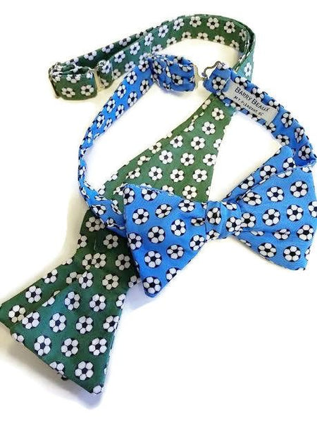 Green Blue Soccer Ball Bow Ties