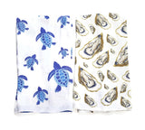 Sea Turtles and Oysters Hand Towels By Barry Beaux