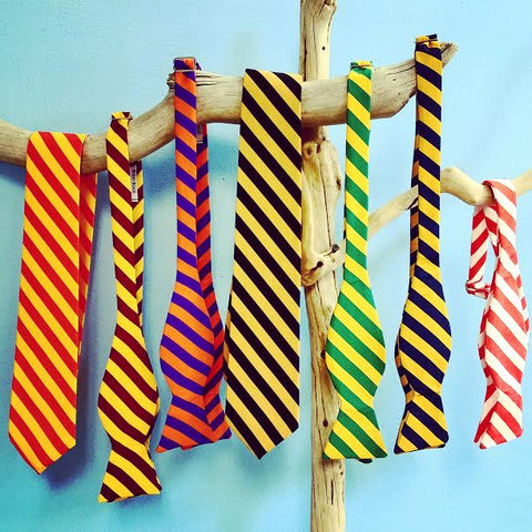 university colored striped bow ties