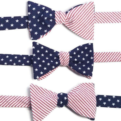 Fourth July Seersucker Stars Stripes Bow Tie