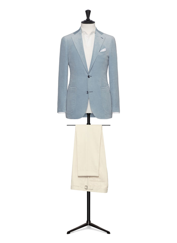 Sky Blue Velvet Blazer - Mr James Store