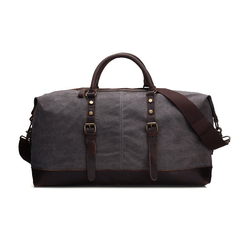 Handmade Waxed Canvas Leather Travel Bag Duffle Bag Holdall Luggage Weekender Bag 12031 - Mr James Store