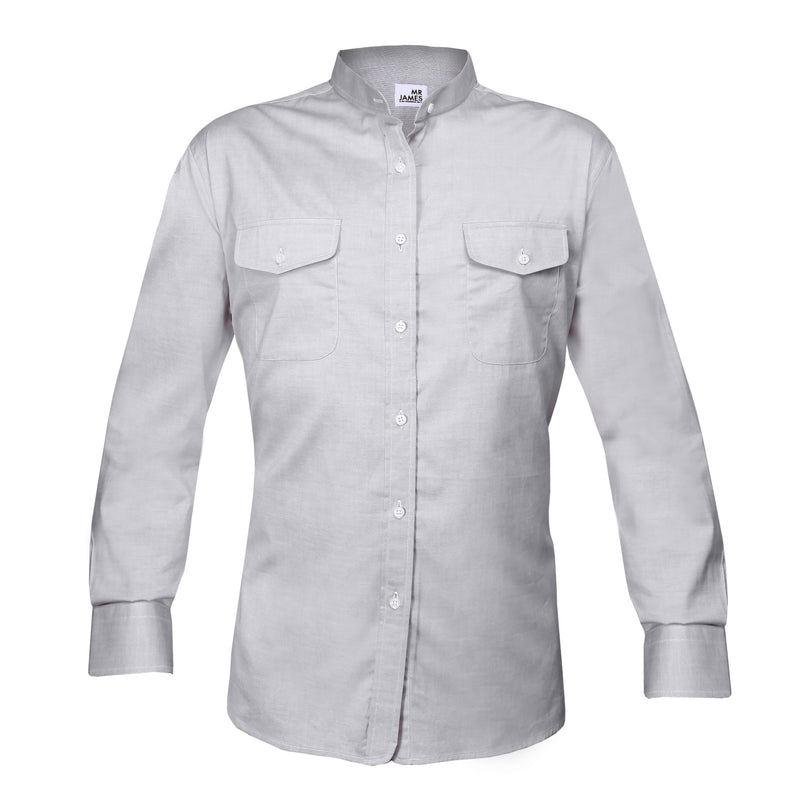 Mr James Stand Collar Shirt with Pockets - Mr James Store