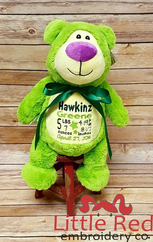 Cubbies™ Lime Green Bear Stuffie with Custom Embroidery