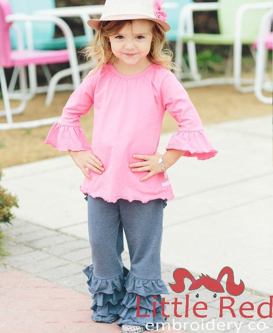 Ruffle Butts Faux Denim Fancy Flare Pants