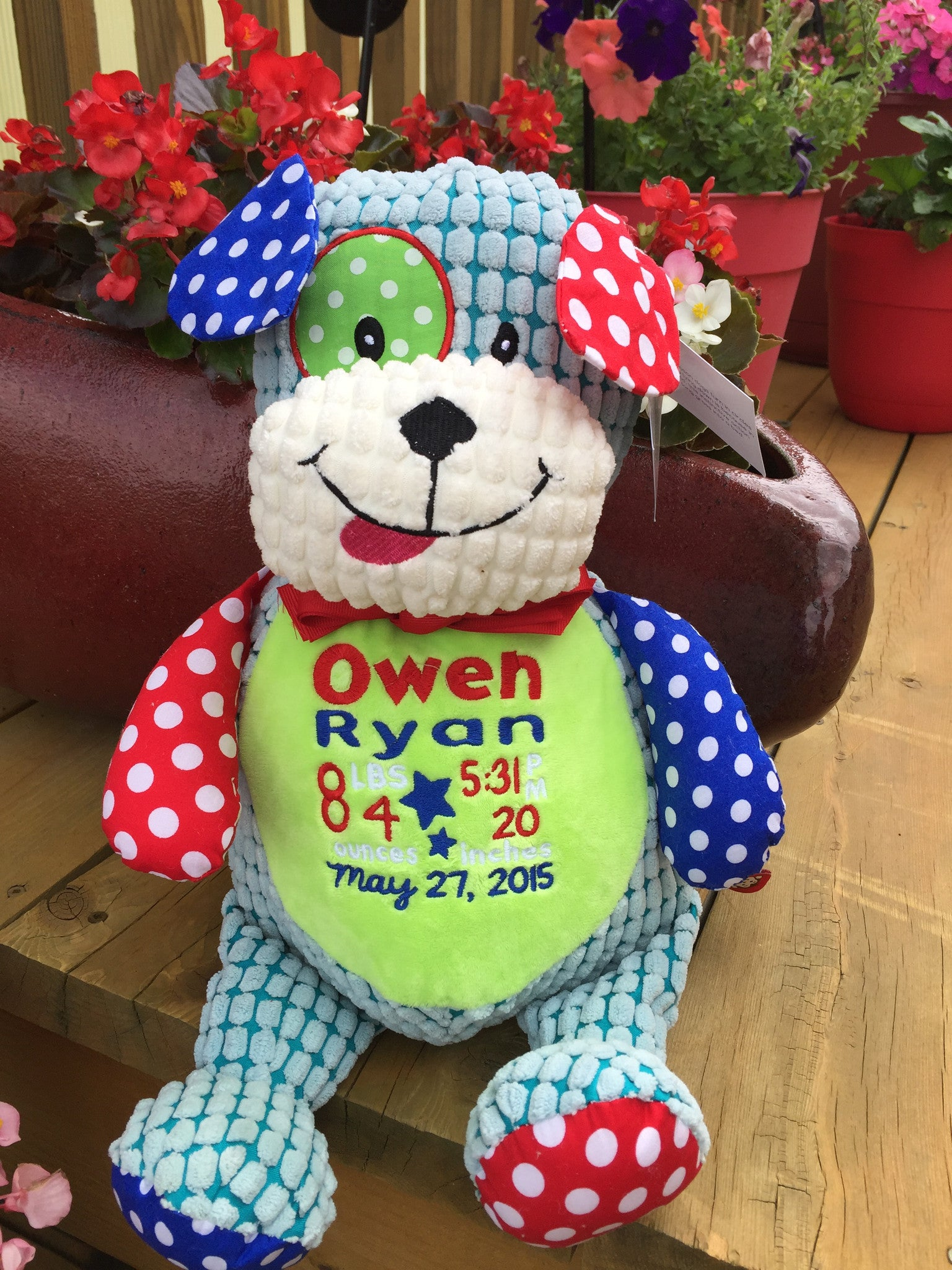 Cubbies Harlequin Dog Stuffie With Custom Embroidery