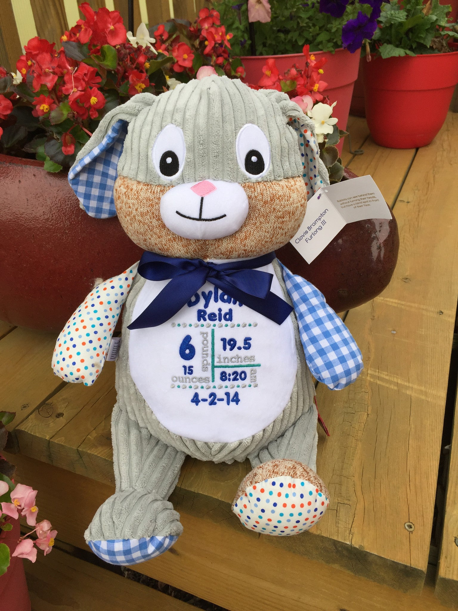 Cubbies™ Harlequin Blue Bunny Stuffie with Custom Embroidery
