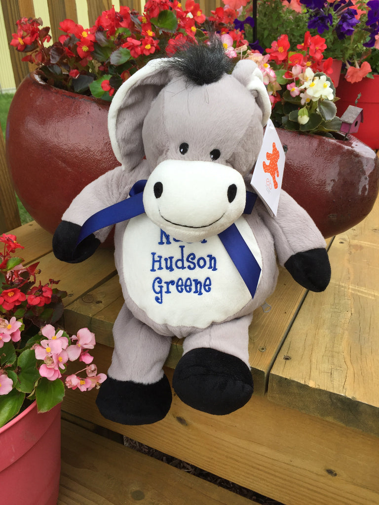 Embroider Buddy Donkey Stuffie with Custom Embroidery