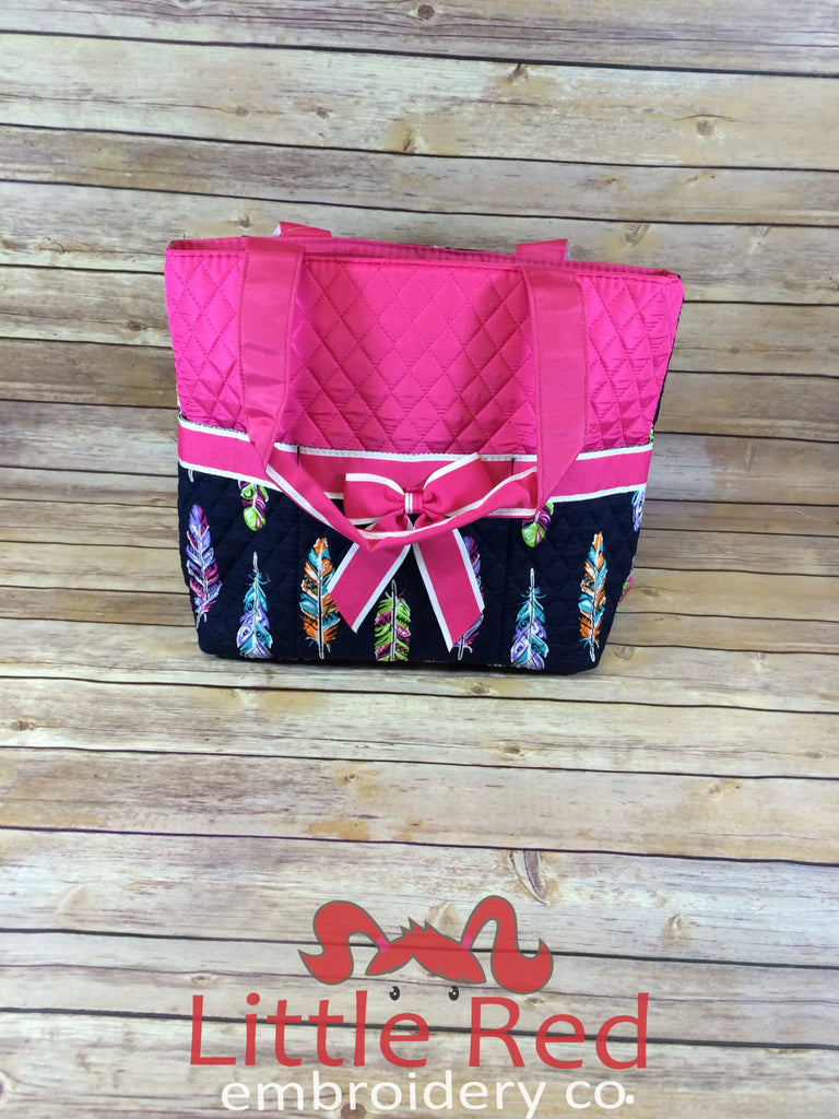 Hot Pink & Feather Print Quilted Diaper Bag