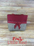 Maroon & Black/White Houndstooth Print Quilted Diaper Bag