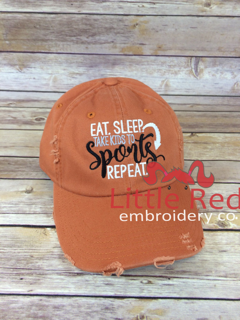 """Eat Sleep Take Kids to Sports"" Distressed Cap"