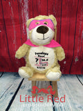 Cubbies™ Pink Hero Bear Stuffie with Custom Embroidery