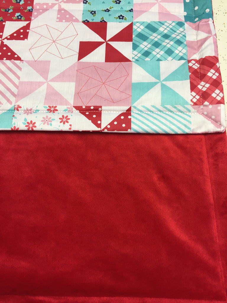 Red Minky Smooth & Patchwork Quilt Pattern Blanket