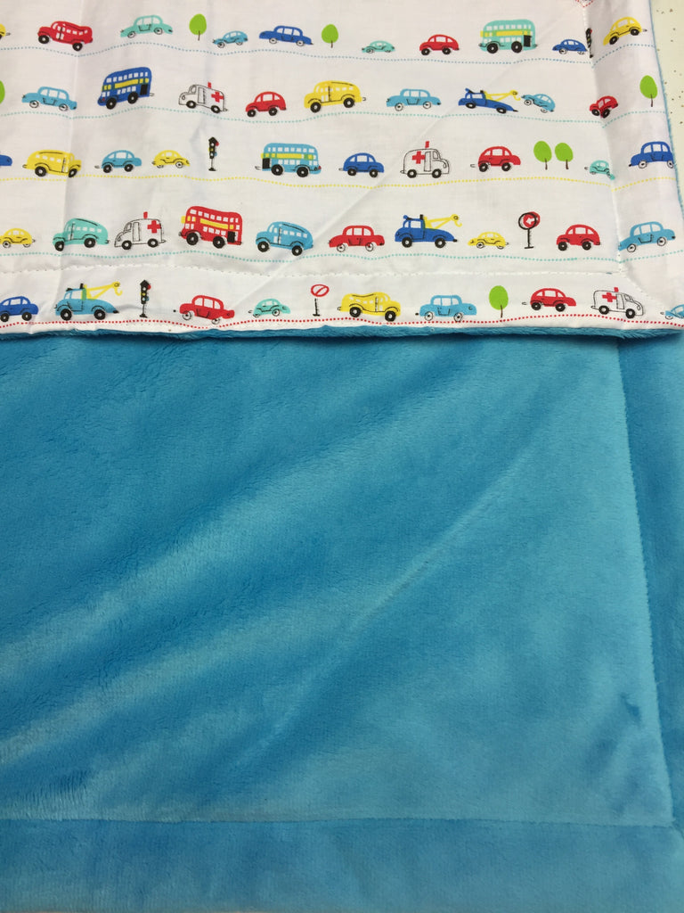 Blue Minky Smooth & Cars Pattern Blanket