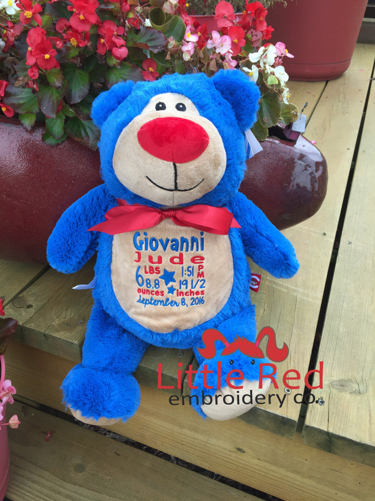 Cubbies™ Royal Blue Bear Stuffie with Custom Embroidery