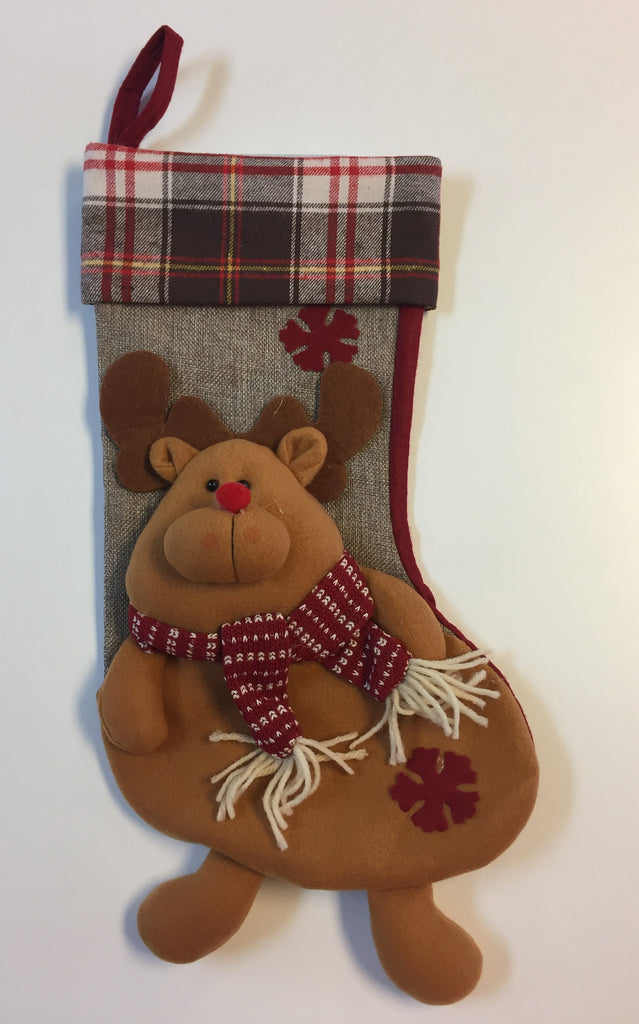 Plaid Reindeer Christmas Stocking