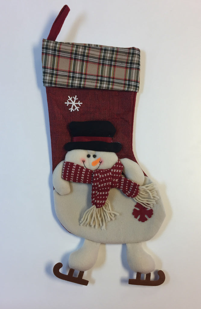 Plaid Snowman Christmas Stocking