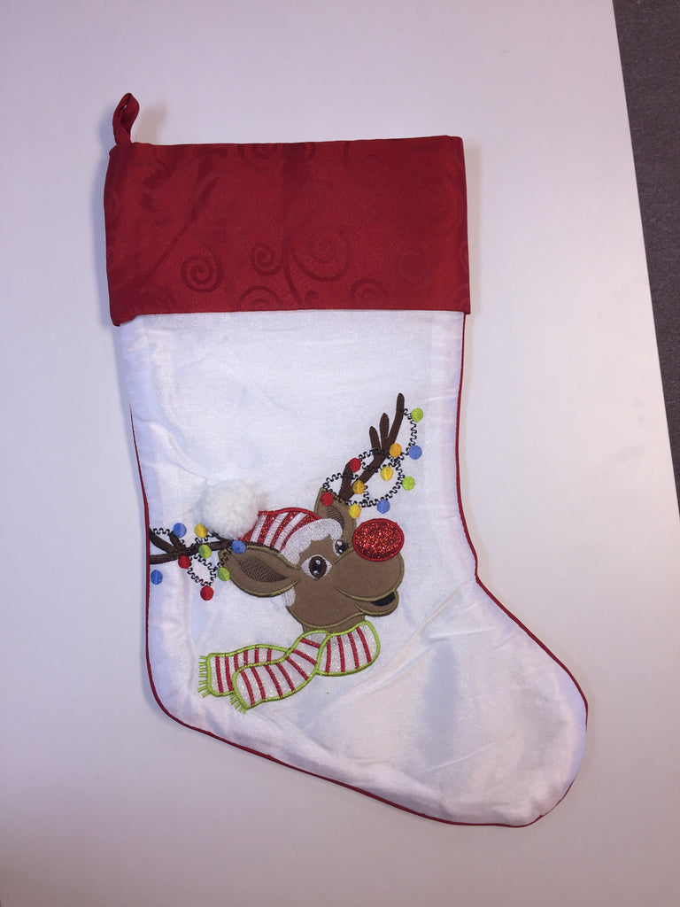 White Reindeer with Christmas Lights Christmas Stocking