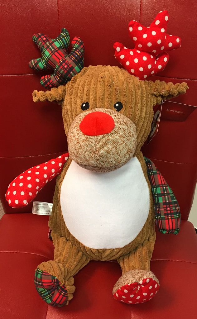 Cubbies™ Harlequin Reindeer Stuffie with Custom Embroidery