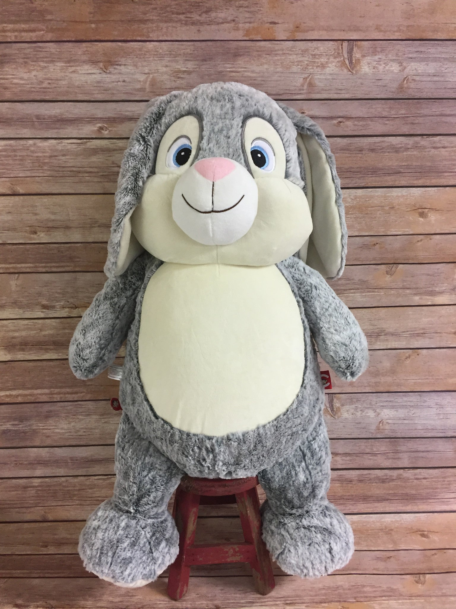 Cubbies™ JUMBO Grey Bunny Stuffie with Custom Embroidery