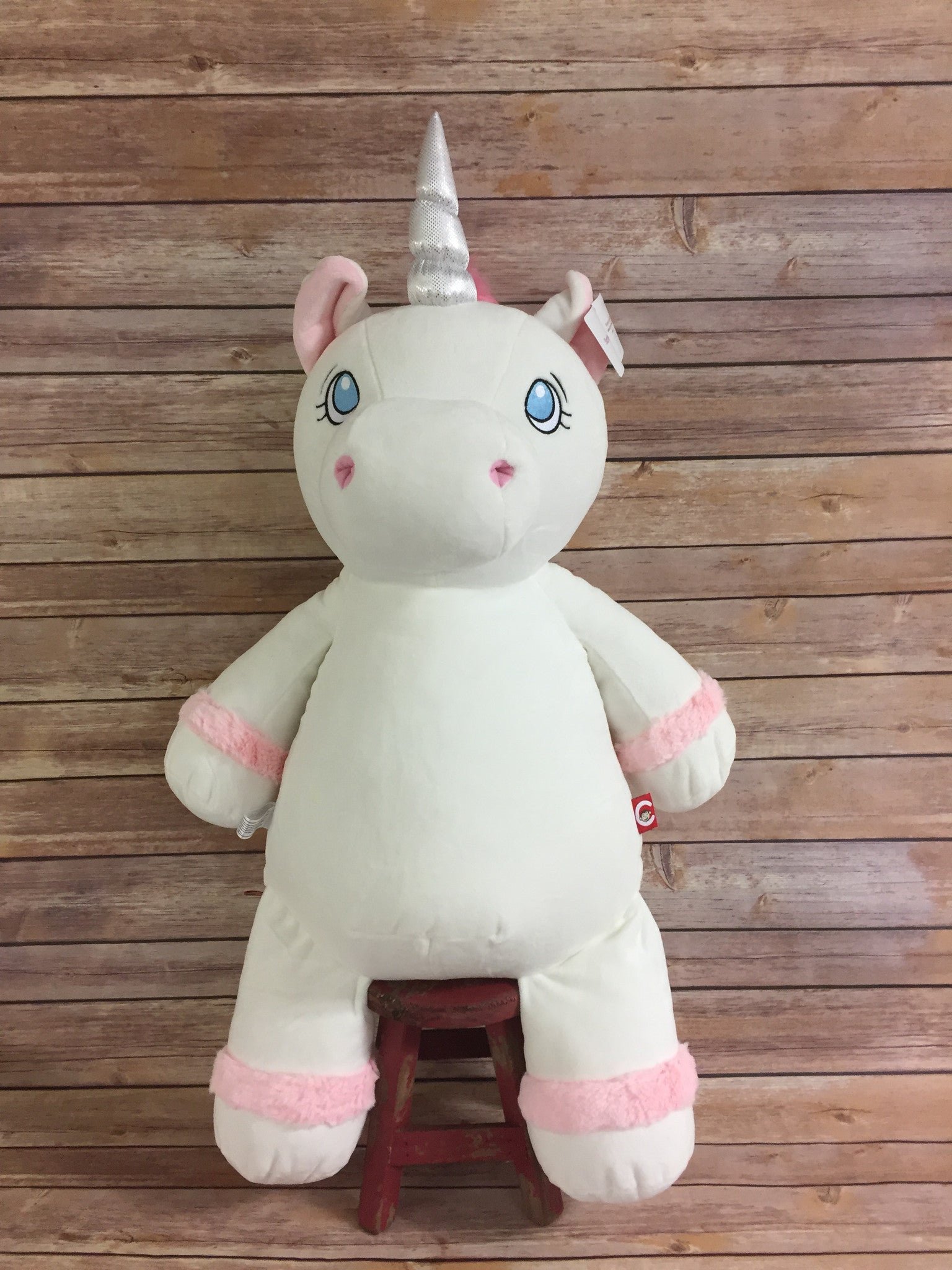 Cubbies™ JUMBO White Unicorn Stuffie with Custom Embroidery