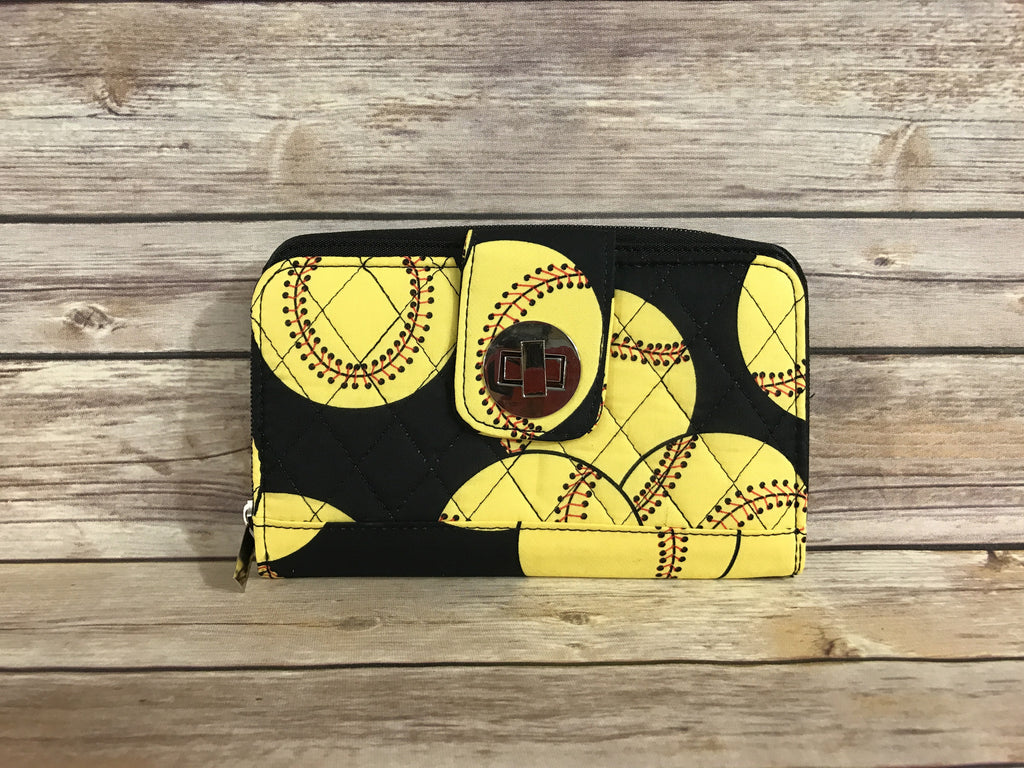 Softball Quilted Organizer Clutch Wallet