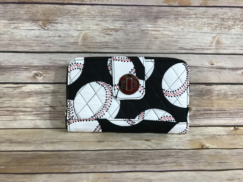 Baseball Quilted Organizer Clutch Wallet