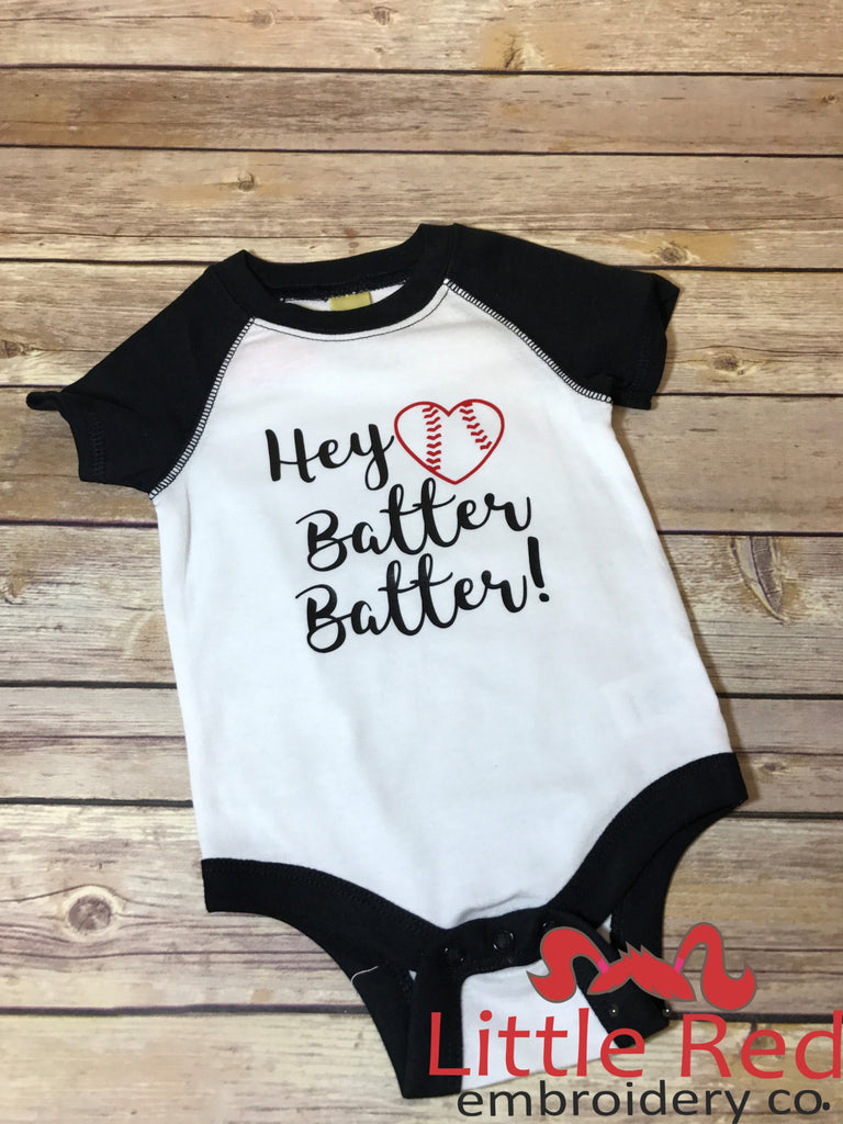 "White & Black ""Hey Batter Batter"" Bodysuit"